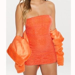 Orange Sequins Bodycon Mini Dress